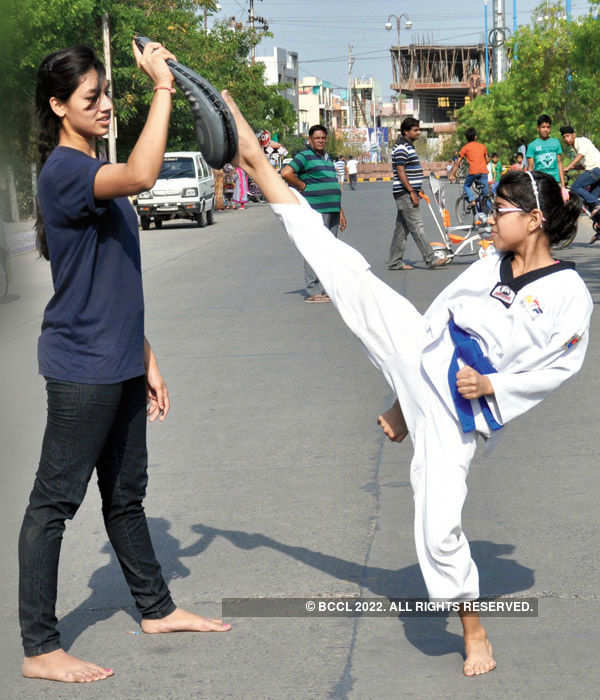 Karate lessons for young girls
