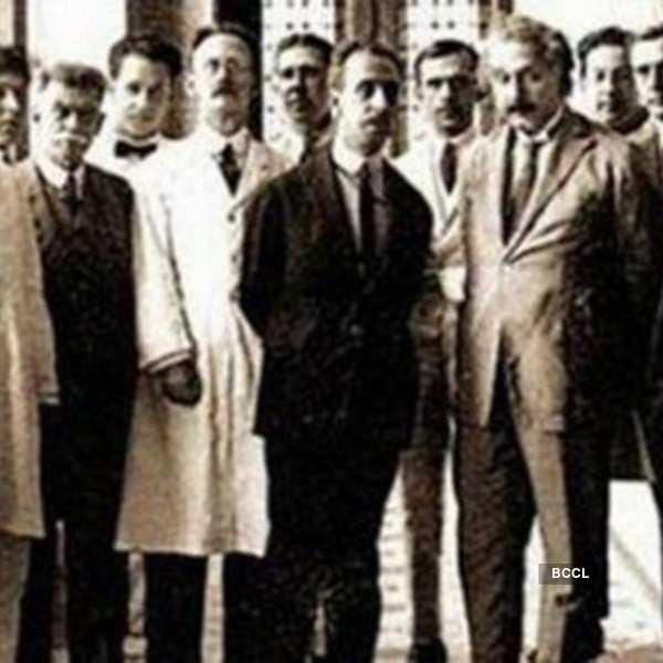 Albert Einstein alongside other scientists