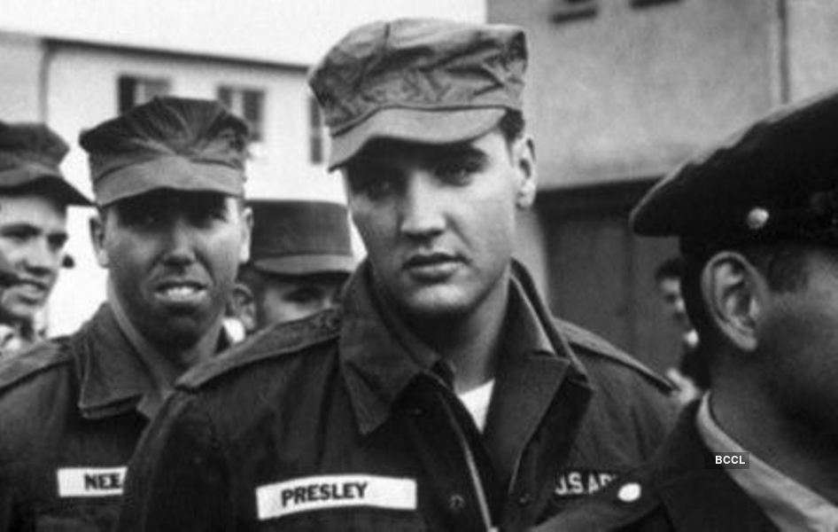 Young Elvis Presley in the US Army