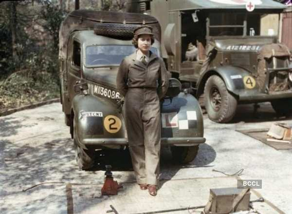 Young Queen Elizabeth in military outfit