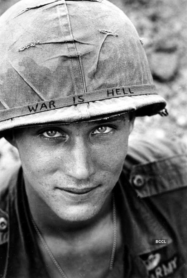AP photojournalist Horst Faas photographed the headband message