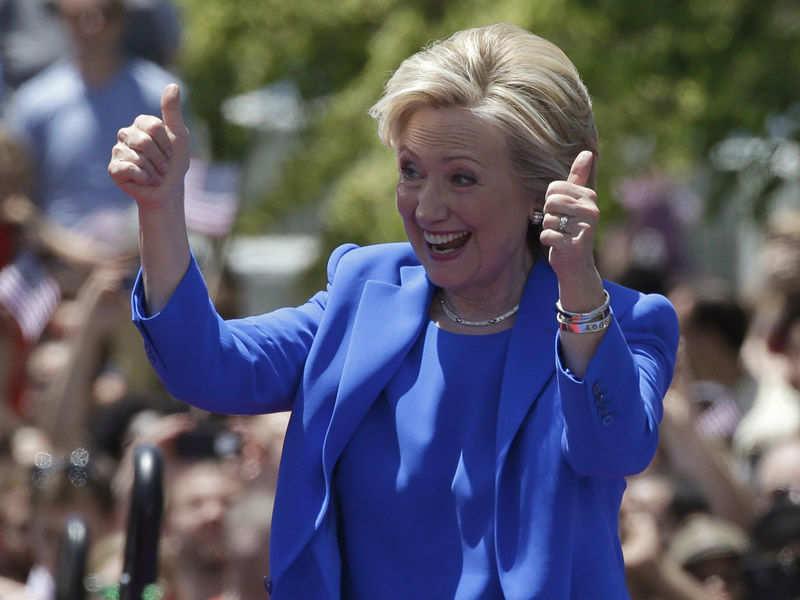 U.S. Democratic presidential candidate Hillary Clinton gestures