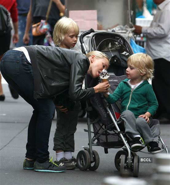 Naomi Watts couldn't resist having her kid's delicious ice cream