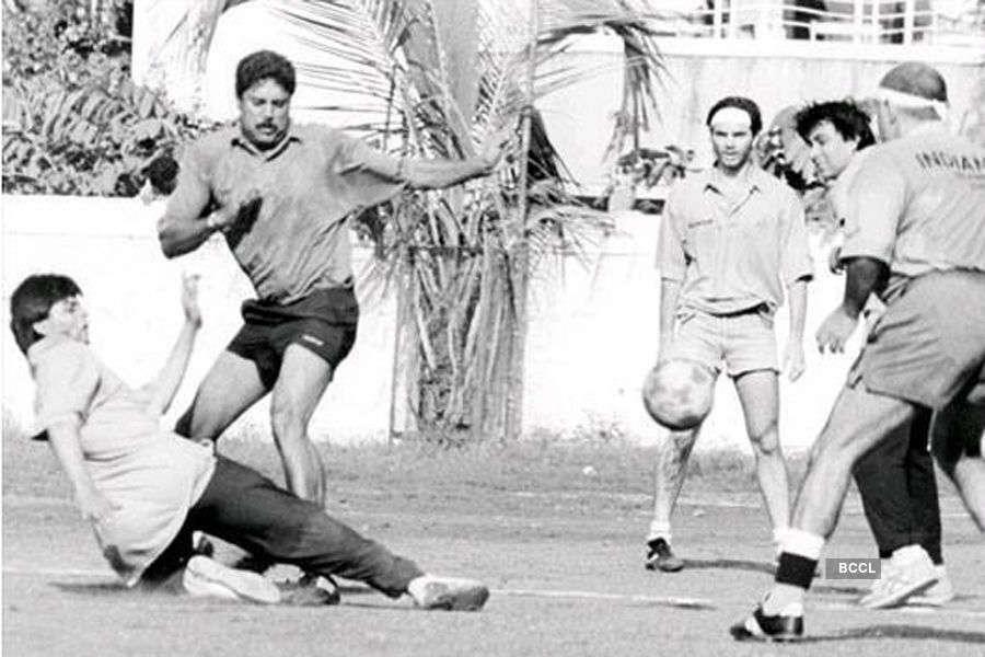 Kapil Dev, Shah Rukh Khan and Suhail Khan play football