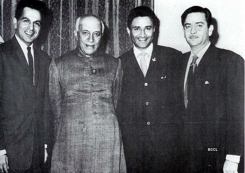 Three legends of Bollywood Dilip Kumar, Raj Kapoor and Dev Anand pose