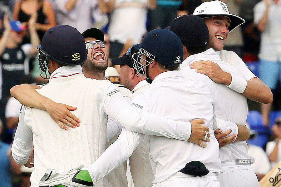 England players celebrate after winning the game
