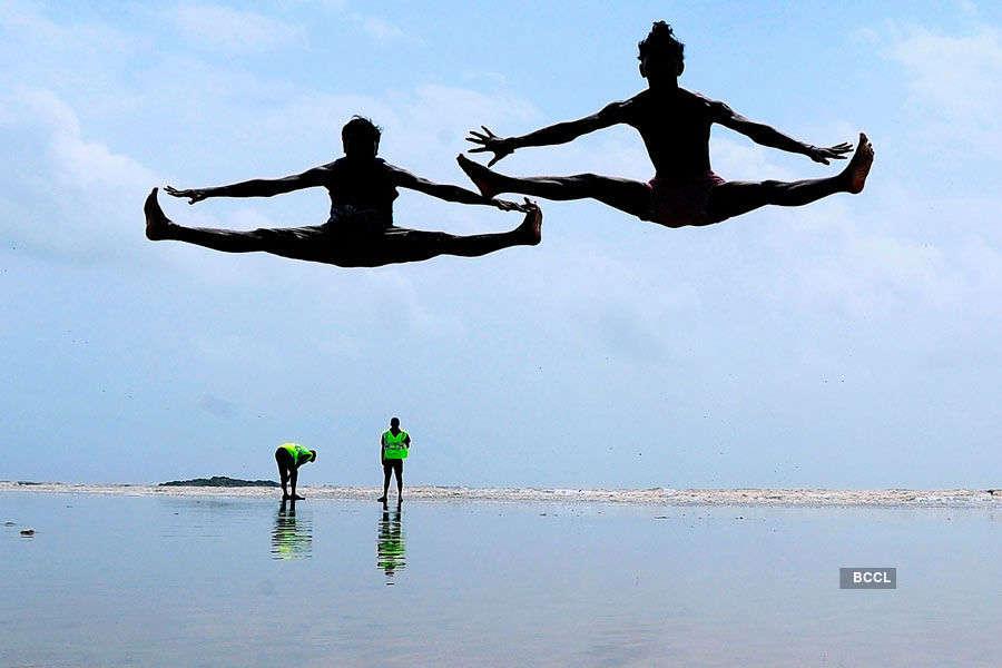 Aksa beach in Malad stunt exercise beach