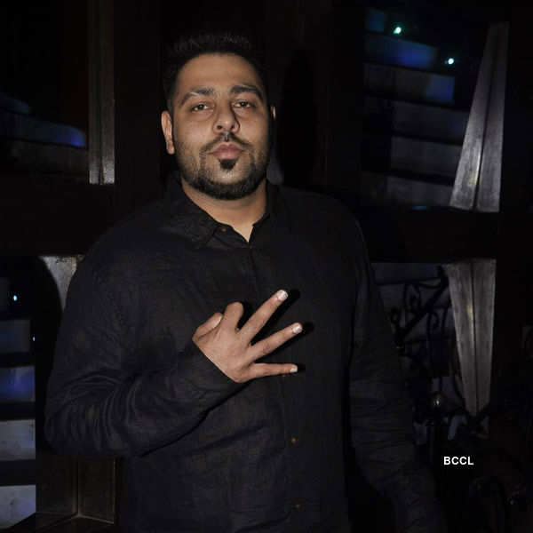 Rapper Badshah gestures during Priyanka Chopra's birthday party
