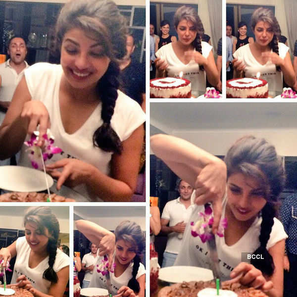 Priyanka Chopra cuts cake during her birthday