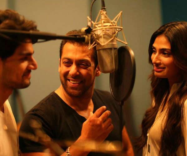 Sooraj Pancholi, Salman Khan and Athiya Shetty during the recording