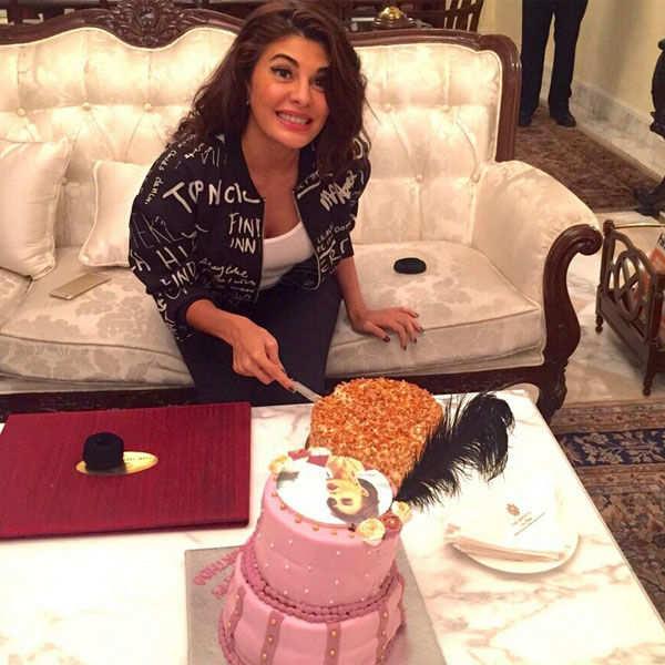 Jacqueline Fernandez cuts her birthday cake