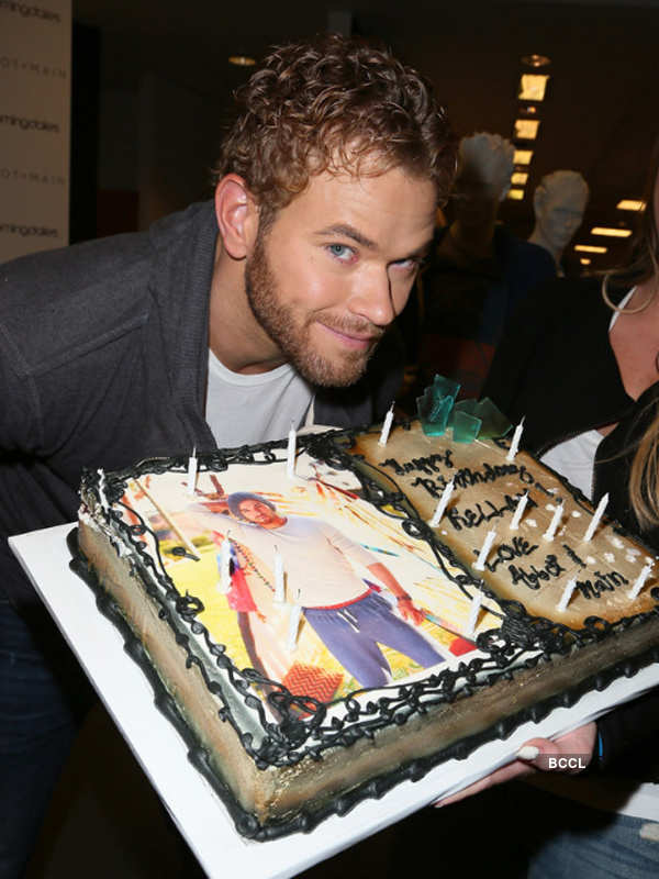 Excellent American Model And Actor Kellan Lutz Poses With A Cake Personalised Birthday Cards Sponlily Jamesorg
