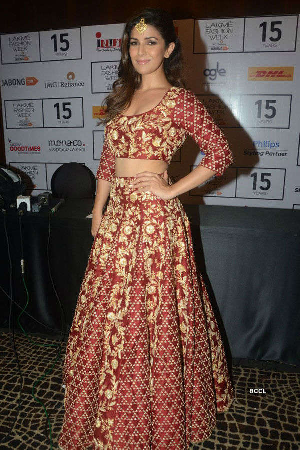 Nimrat Kaur poses in a designer collection