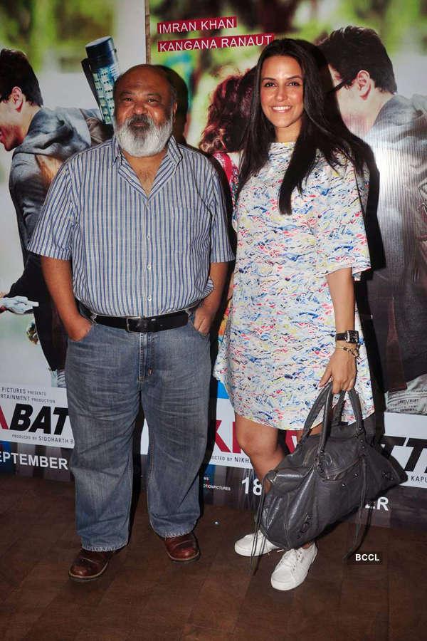 Saurabh Shukla and Neha Dhupia during the screening
