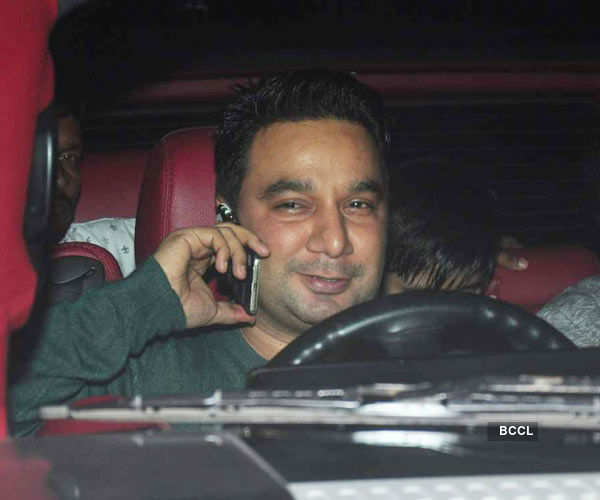 Ahmed Khan arrives during the screening