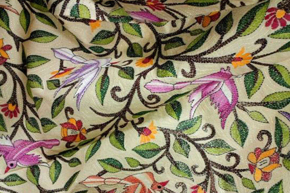 Kantha embroidered saree