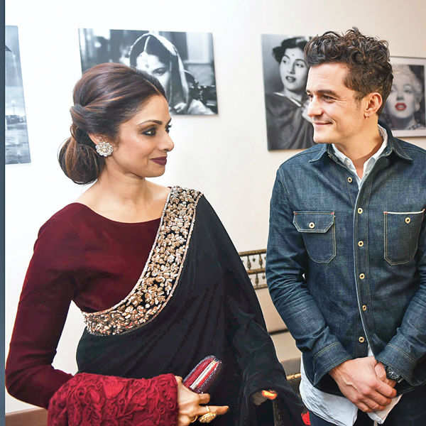 Orlando Bloom with Sridevi during a special dinner