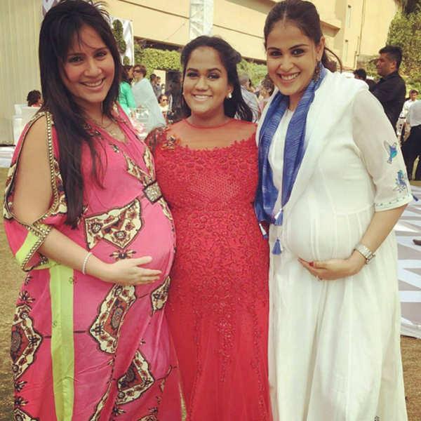 Pregnant Kanchi Kaul and Genelia D'Souza pose with Arpita Khan Sharma