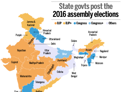 India States Map 2016.Infographic Bjp Vs Congress In 2014 2016 Times Of India