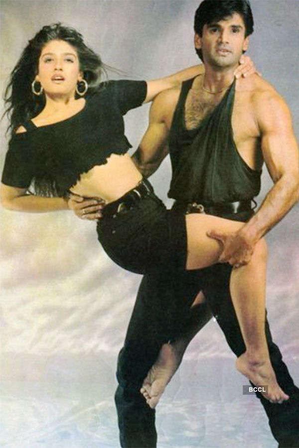 Raveena Tandon and Suniel Shetty