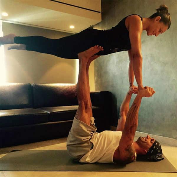Bipasha Basu and Karan Singh Grover perform yoga asanas