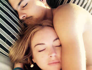 Lindsay shares a picture snuggling with fiancé Egor