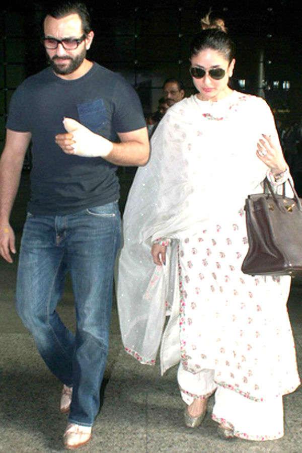 Pregnant Kareena Kapoor Khan with Saif Ali Khan