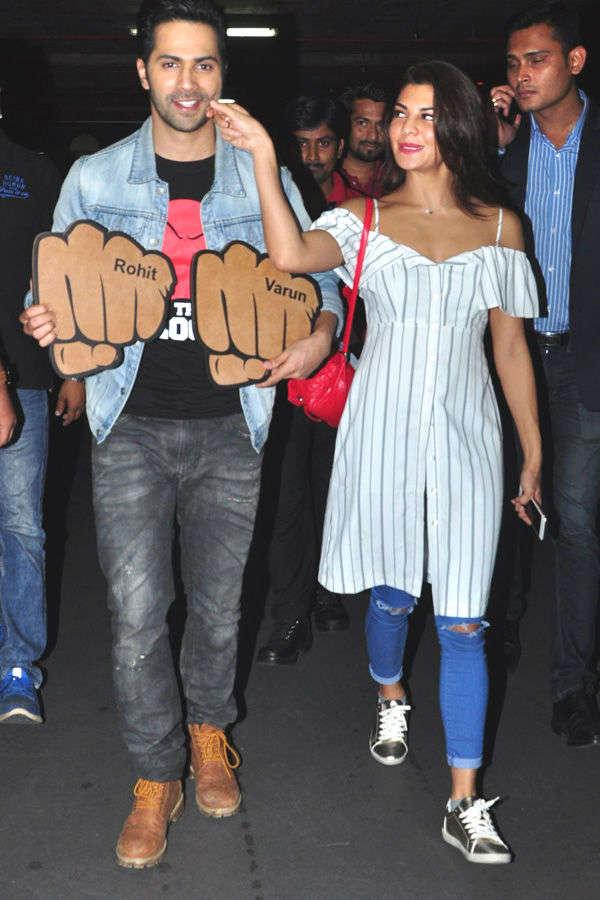 Jacqueline Fernandez pulls Varun Dhawan's cheek