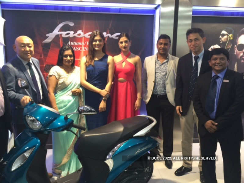 Asha Bhat and Natasha Assadi attend the Yamaha Fascino dealer inauguration event