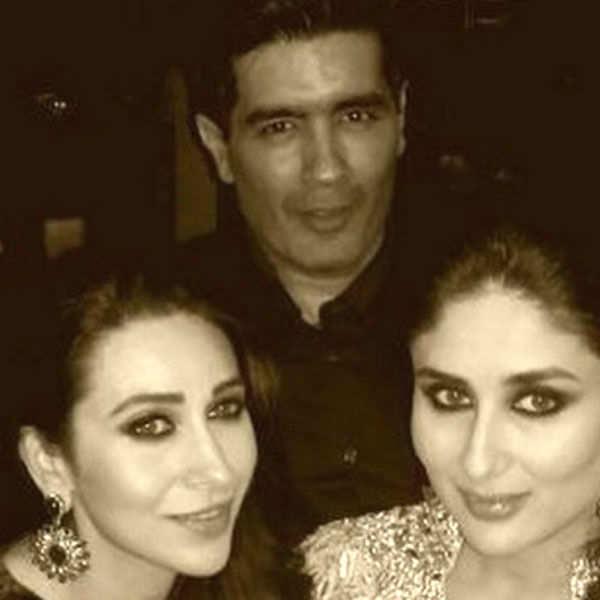 Karisma Kapoor and Kareena Kapoor Khan with Manish Malhotra