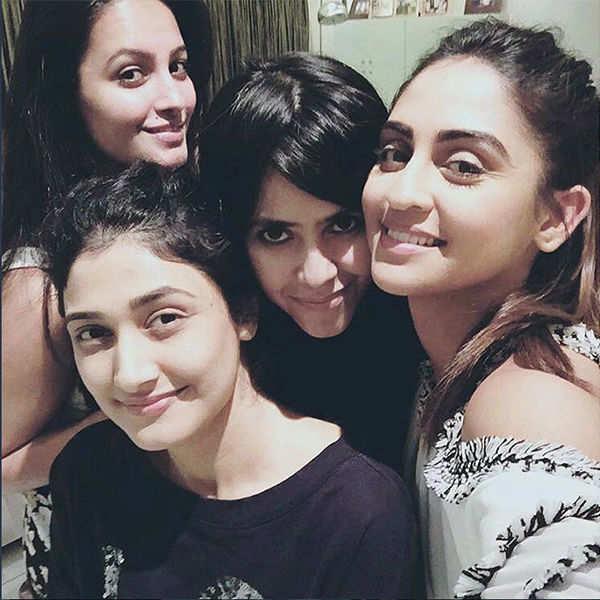 Ekta Kapoor parties with TV actors