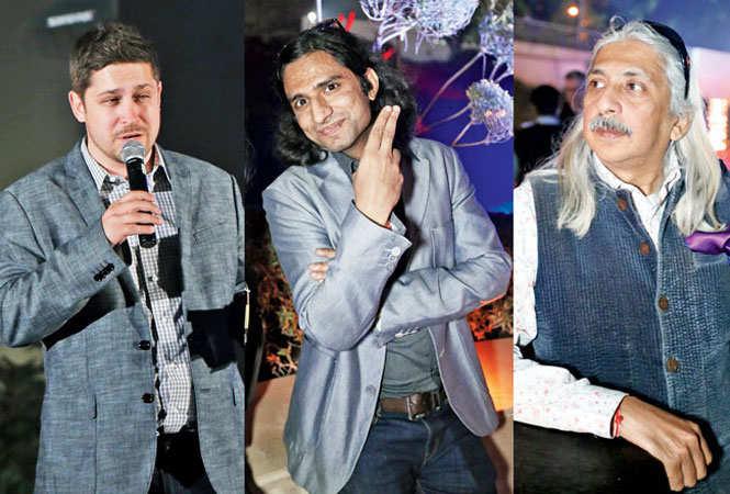 (L-R) Aaron Biebert, Suraj Dhingra and Sanjoy Roy (BCCL)