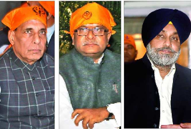 (L-R) Home minister Rajnath Singh, Law minister Ravi Shankar Prasad and Sukhbir Singh Badal, Punjab's Deputy CM (BCCL)
