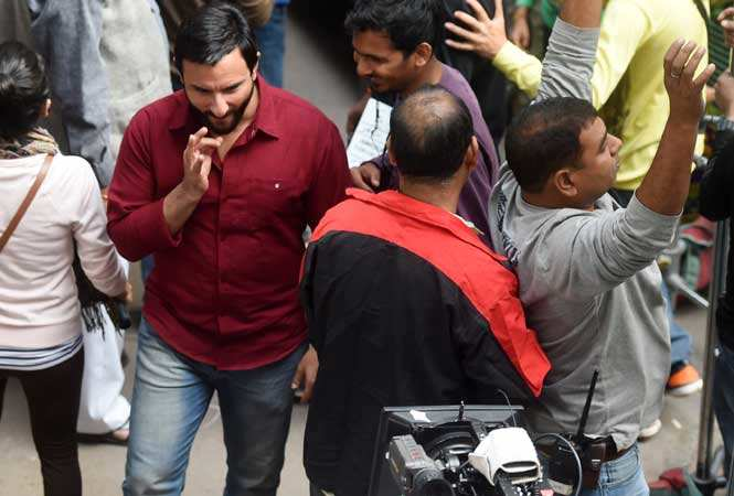 Saif shooting in the interiors of Chandni Chowk near Kinari Bazaar on the second day of the shoot (BCCL)