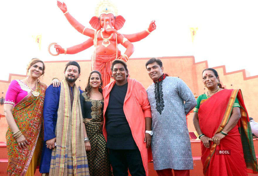 Ganesh, Swapnil, Rucha shot Ganpati song at Film City