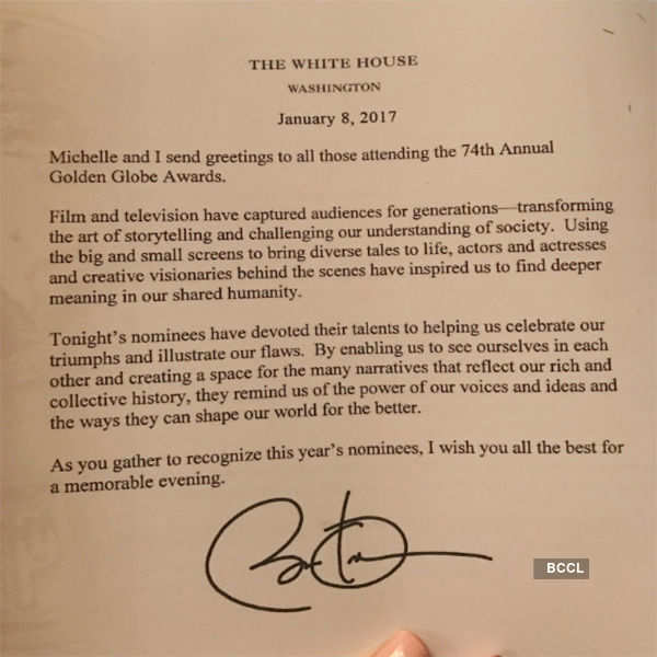 Obama surprises Golden Globes nominees, pens a thank you note
