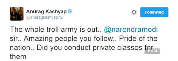 Anurag Kashyap hits at PM Narendra Modi on Twitter