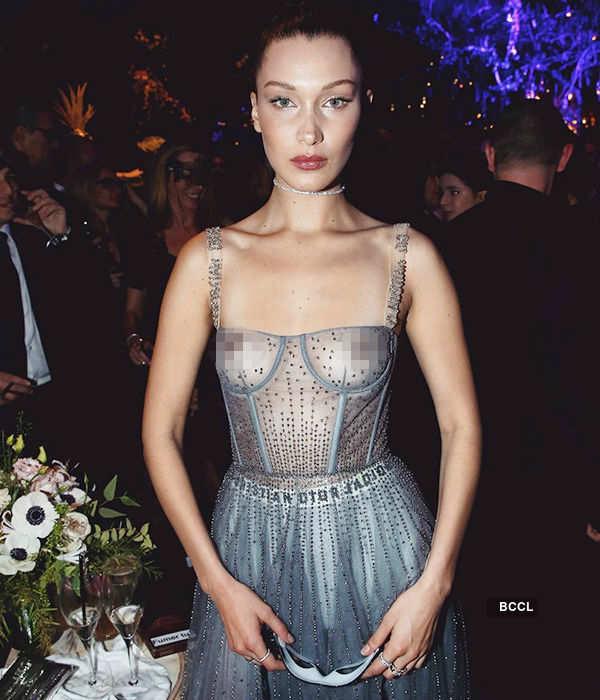 Bella Hadid flaunts sheer dress in fashion show