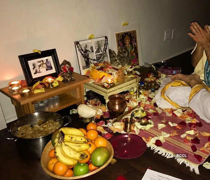 Singer Miley Cyrus performs Lakshmi puja