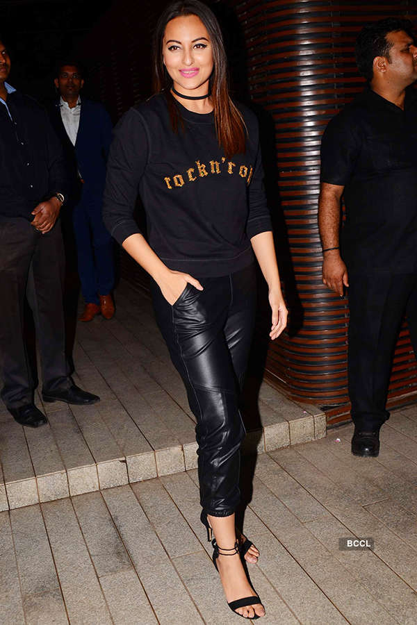 Sonakshi Sinha turns biker chick as she attends the success party