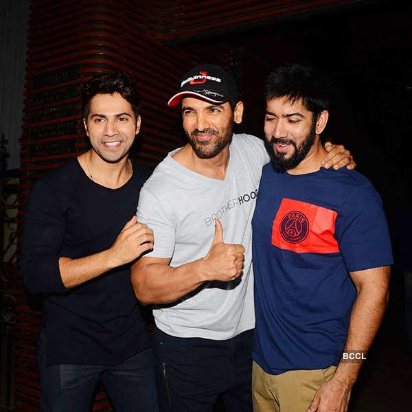 Varun Dhawan, John Abraham and Rohit Dhawan attend the success party