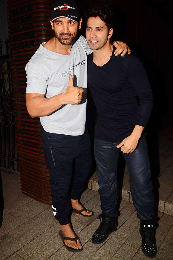 John Abraham and Varun Dhawan attend the success party