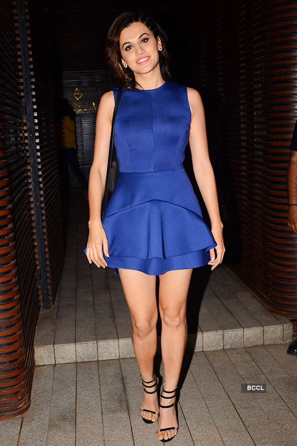 Taapsee Pannu looks beautiful in short dress as she attends the success party