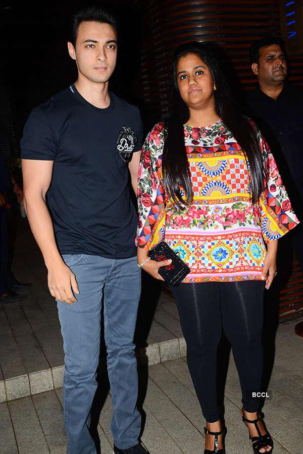 Aayush Sharma and Arpita Khan Sharma attend the success party