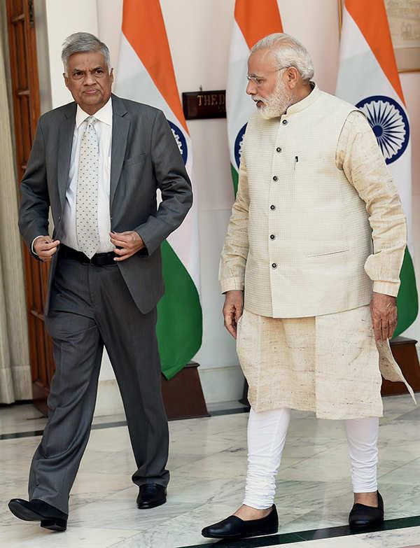 Sri Lankan PM Ranil Wickremesinghe meets Modi
