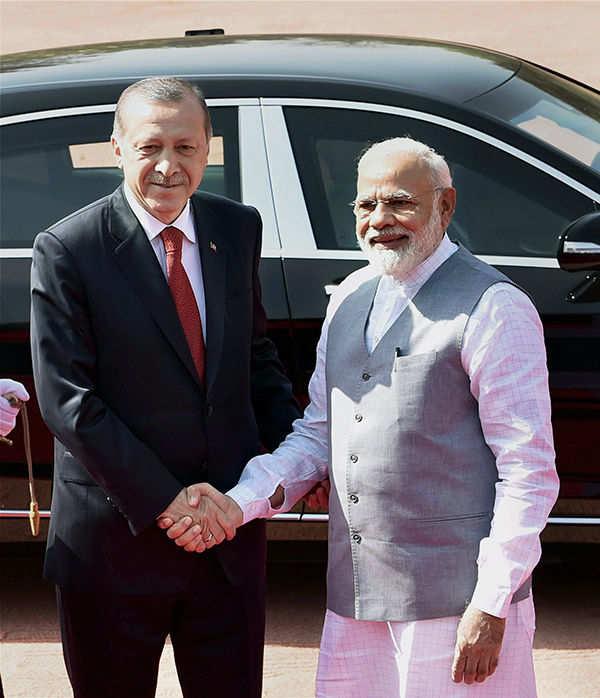 Turkish President Recep Tayyip Erdogan meets PM Modi