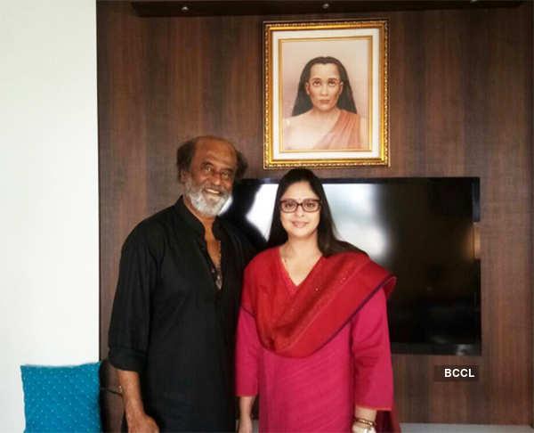 Nagma poses with Rajnikanth