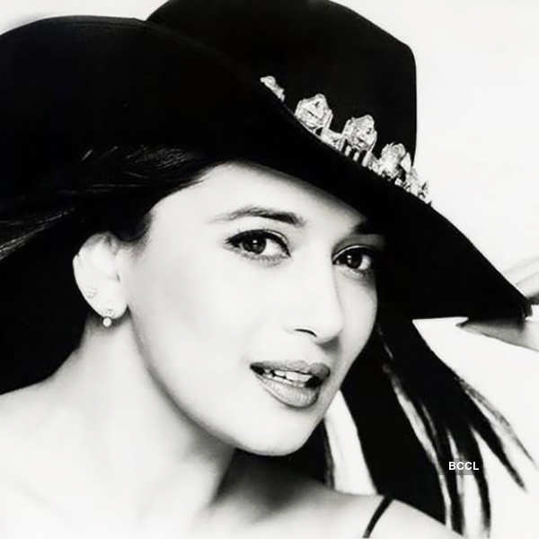 Madhuri Dixit black and white photo