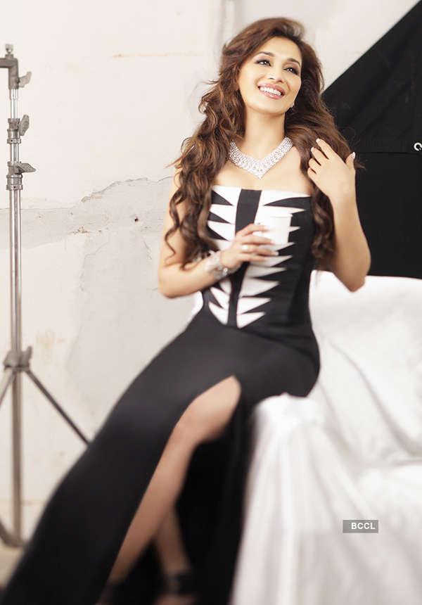 Madhuri in long black dress