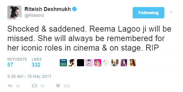 RIP Reema Lagoo, who will always be remembered for her contribution to Indian cinema...
